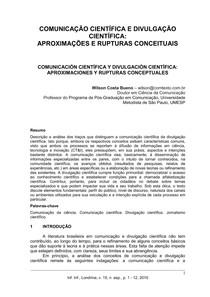 Comunicação cientifica e divulgação científica: aproximação e rupturas conceituais