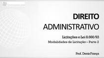 Modalidades de licitação - Apresentação (parte 2)