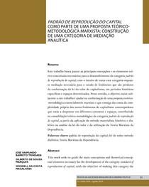 Padrão de Reprodução do Capital como parte de uma proposta teórico-metodológica marxista