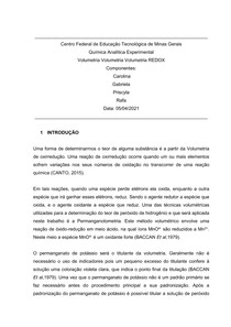 Volumetria REDOX (Água oxigenada 10V)