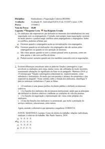 AVALIAÇÃO II SINDICALISMO