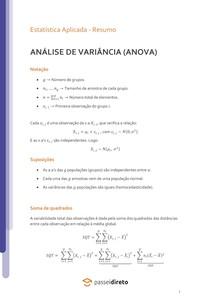 Análise de Variância (ANOVA) - Resumo