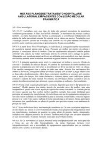 METAS E PLANOS DE TRATAMENTO HOSPITALAR E AMBULATORIAL EM PACIENTES COM LESÃO MEDULAR TRAUMÁTICA