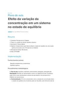 Plano de Aula - Efeito da Variação da Concentração em um Sistema no Estado de Equilíbrio
