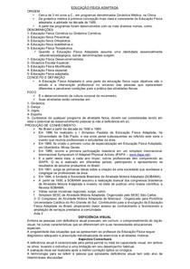 RESUMÃO DAS AULAS DE EDUCAÇÃO FÍSICA ADAPTADA