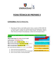 Aprendendo FICHA TÉCNICA DE PREPARO 3