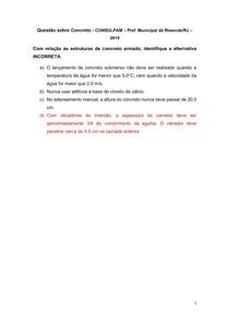 Questão sobre Concreto - CONSULPAM Pref Municipal de Resende-RJ 2019