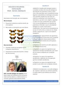 Evolução 5 - Especiação - Resumo