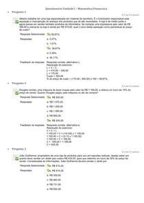 Questionario Unidade I   Matematica Financeira