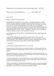 Modelos De Ação Revisional De Contrato Bancário Novo Cpc