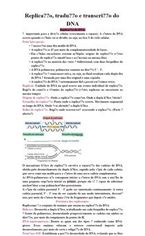 Replicação, tradução e transcrição do DNA