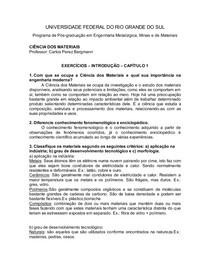 Lista de Exercícios de Ciência dos Materiais #1