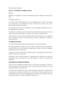 Aula 06 – Formulação de estratégias funcionais