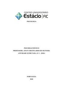 ATIVIDADE ESTRUTURADA DE  PSICODIAGNÓSTICO FINALIZADA