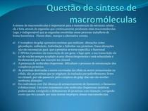 síntese de macromoléculas