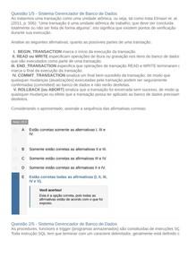 Apol 3 Sistema Gerenciador de Banco de Dados Nota 100