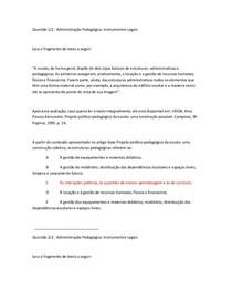 administração pedagogica:instrumentos legais