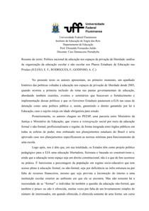 Resumo do texto: Política nacional de educação nos espaços de privação de liberdade: análise da organização da educação escolar e não escolar nos Planos Estaduais de Educação nas Prisões