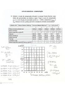 Mecânica dos Solos - Lista de exercícios resolvida - Compactação
