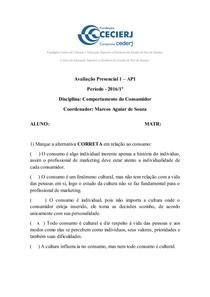 AP1 COMPORTAMENTO DO CONSUMIDOR 2016.1