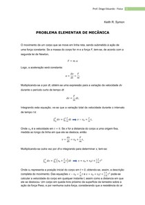 PROBLEMA ELEMENTAR DE MECÂNICA