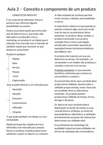 Resumo 2 - conceito e componente de um produto