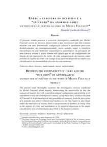 Entre a clausura do desatino e a inclusão da anormalidade  vicissitudes da loucura na obra de Michel Foucault
