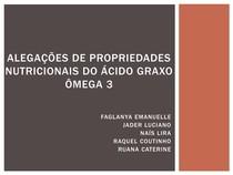 Alegações de propriedades nutricionais do Ácido Graxo Ômega