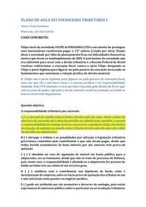PLANO DE AULA XVI FINANCEIRO TRIBUTÁRIO I