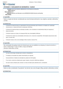 Unicesumar - QUESTIONÁRIO 2 - NIVELAMENTO DE INFORMATICA Ensino a Distância
