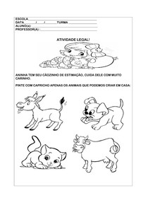 Atividade Educação Infantil-Animais de Estimação