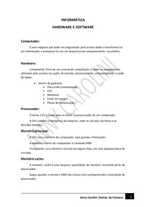 INFORMÁTICA - HARDWARE E SOFTWARE
