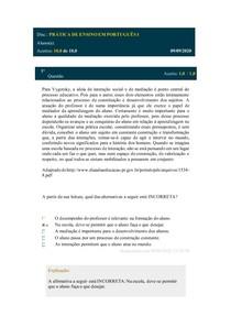Simulado prática de ensino em português 1