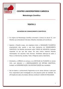 TEXTO - AS RAÍZES DO CONHECIMENTO CIENTÍFICO