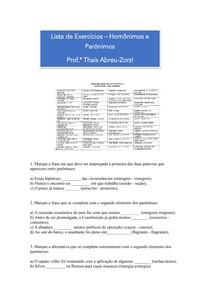 Lista Resolvida Homônimos e Parônimos