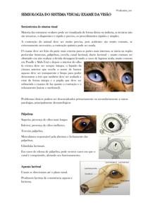 SEMIOLOGIA DO SISTEMA VISUAL/EXAME DA VISÃO