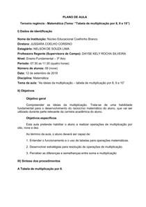 Plano de Aula - Matemática - 3 Ano EF - Tabela Multiplicação por 8, 9 e 10
