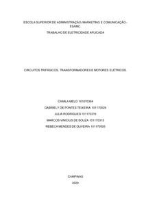 CIRCUITOS TRIFÁSICOS, TRANSFORMADORES E MOTORES ELÉTRICOS finalizado