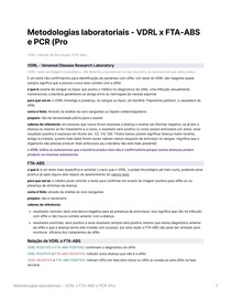 Metodologias laboratoriais - VDRL x FTA-ABS e PCR