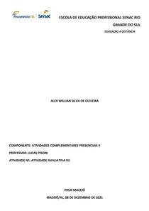 Atividade Avaliativa 3 | Módulo 2 | Atividades Complementares Presenciais 2