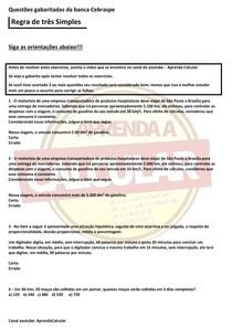 Questões gabaritadas da Banca Cebraspe , Regra de três simples#EXCLUSIVOPD