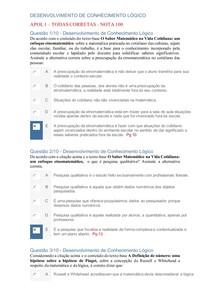 APOL 1 -Desenvolvimento de Conhecimento Lógico - 4 - Nota 100