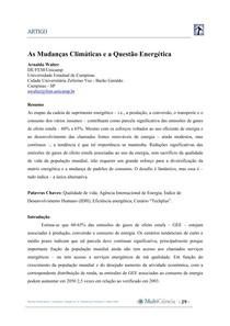 As mudanças climáticas e a questão energética