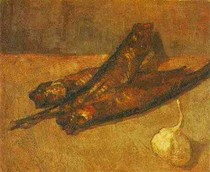 Vincent Willem van Gogh-ainda-vida-com-Bloaters-e-Garlic