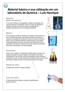 Material básico e sua utilização em um laboratório de Química
