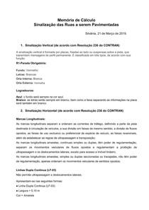 MEMORIA DE CÁLCULO SINALIZAÇÃO