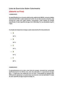 Lista de Exercícios de Física do Enem Sobre Calorimetria - Parte 5