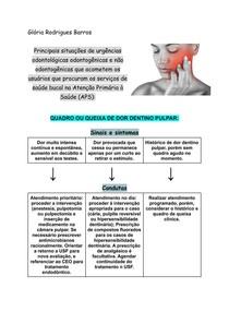 Principais situações de urgências odontológicas na APS