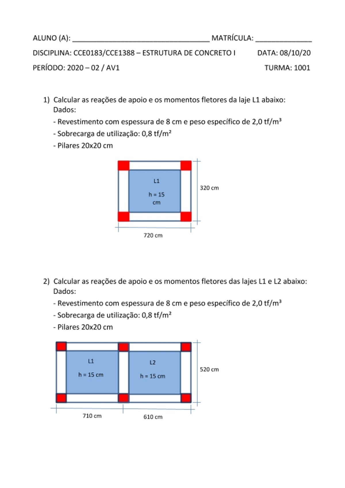 Pre-visualização do material AV1 - Concreto I - Prof Leila - Estacio Niteroi - página 1