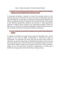Perguntas e Respostas Bioquímica - Síntese de Lipídios + Via das Pentoses Fosfato
